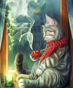 Smoking Cat Paint by numbers