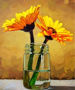 Sunflowers In Glass Paint by numbers