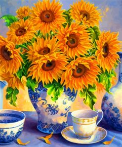 Sunflowers And Tea Set Paint by numbers