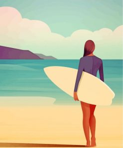 Surfer Woman Illustration Paint by numbers