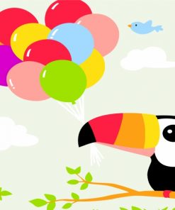 Toucan And Balloons Paint by number
