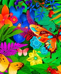 Tropical Flowers And Butterflies paint by numbers