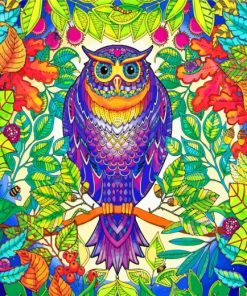 Tropical Mandala Owl paint by numbers