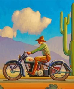 Western Man On Motorcycle Paint by numbers