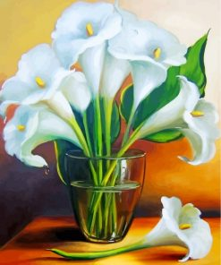White Lilies In Glass Paint by numbers