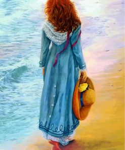 Woman Walking By Sea Paint by numbers