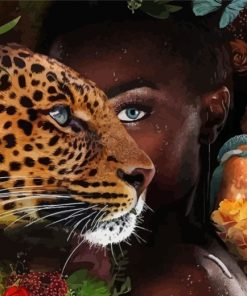 black-african-woman-and-leopard-paint-by-numbers