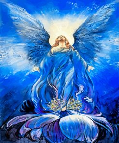 Blue Angel Of Love in a lotus paint by numbers