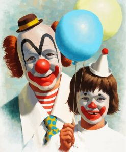 clown father and son-paint-by-numbers