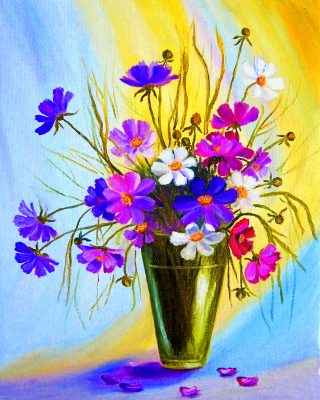 Cosmos Flowers Vase Paint by numbers