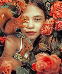 cute-girl-and-squirrels-paint-by-numbers