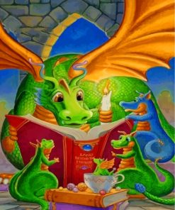 dragon-reading-a-story-to-his-babies-paint-by-numbers