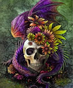 dragon with skull and flowers-paint-by-numbers