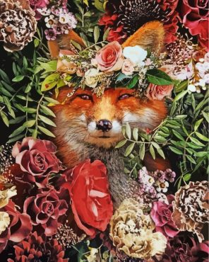 floral-fox-paint-by-numbers