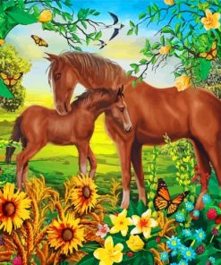 Horse And Foal Paint by numbers