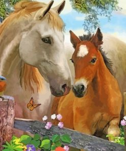 horses-with-birds-and-flowers-paint-by-numbers