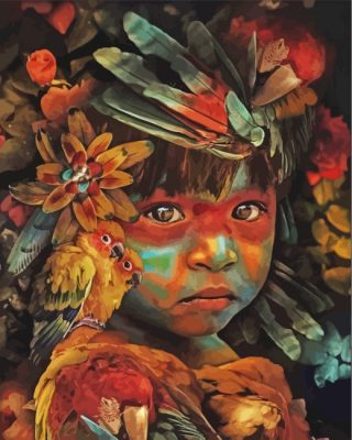 indian-boy-and-birds-paint-by-numbers