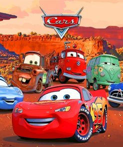 Lightning Mcqueen And Friends Paint by numbers