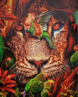 lion-and-parrots-paint-by-numbers