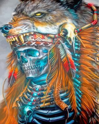 Native American Wolf Skull Paint by numbers