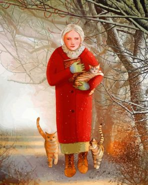old-woman-and-her-kitties-paint-by-numbers