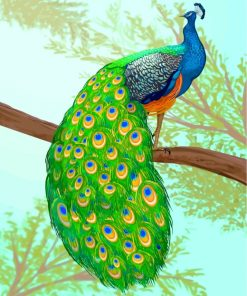 Peacock On A Branch Paint by numbers