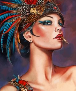 peafowl-woman-paint-by-numbers