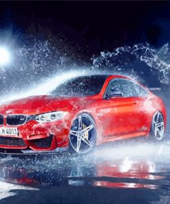 red-car-in-rain-paint-by-numbers