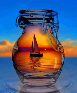 Ship In Glass Bottle Paint by numbers