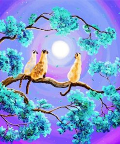 Siamese Cats In Moonlight Paint by numbers