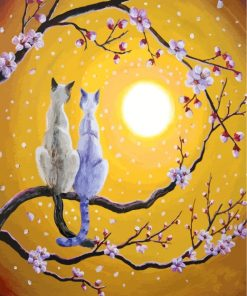 Siamese Cats Nestled In Golden Sakura paint by numbers