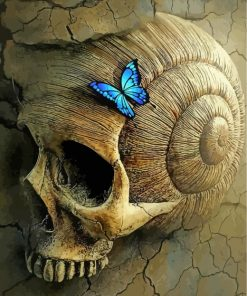 skeleton and blue butterflies-paint-by-numbers