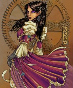steampunk-woman-paint-by-numbers
