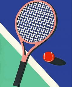 Tennis Ball And Racket Paint by numbers