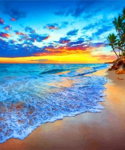 Tropical Island Beach Sunset Paint by numbers