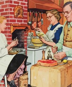 1950s Americana Family Dinner Paint by numbers