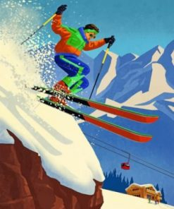 80s Skier Paint by numbers