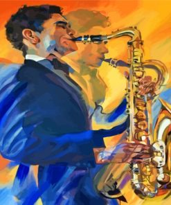 Abstract Saxophone Player Paint by numbers