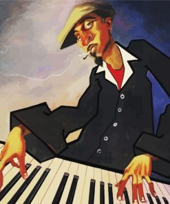 African Piano Player Paint by numbers