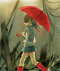 Anime Girl Holding Umbrella Paint by numbers