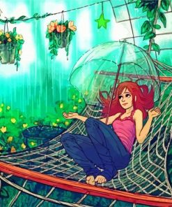 Anime Girl In Hammock Paint by Numbers