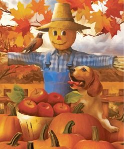 Autumn Farm Scarecrow Paint by numbers