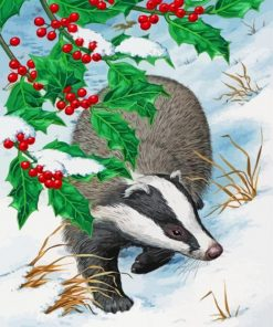 Badger In Snow Paint by numbers