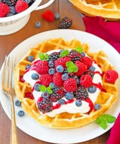 Belgian Waffle With Fruits Paint by numbers