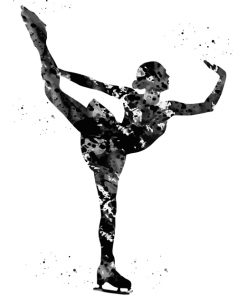 Black Ice Skater Art Paint by numbers