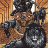 Black Panthers And Black Lion Paint by numbers