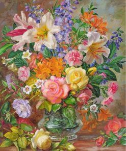 Blooming Flowers Vase Paint by numbers