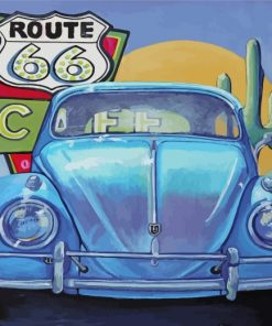 Blue Car On Route 66 Paint by numbers