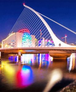 Cable-Stayed-Bridge-Dublin-at-Night