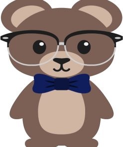 Cartoon Bear With Glasses Paint by numbers